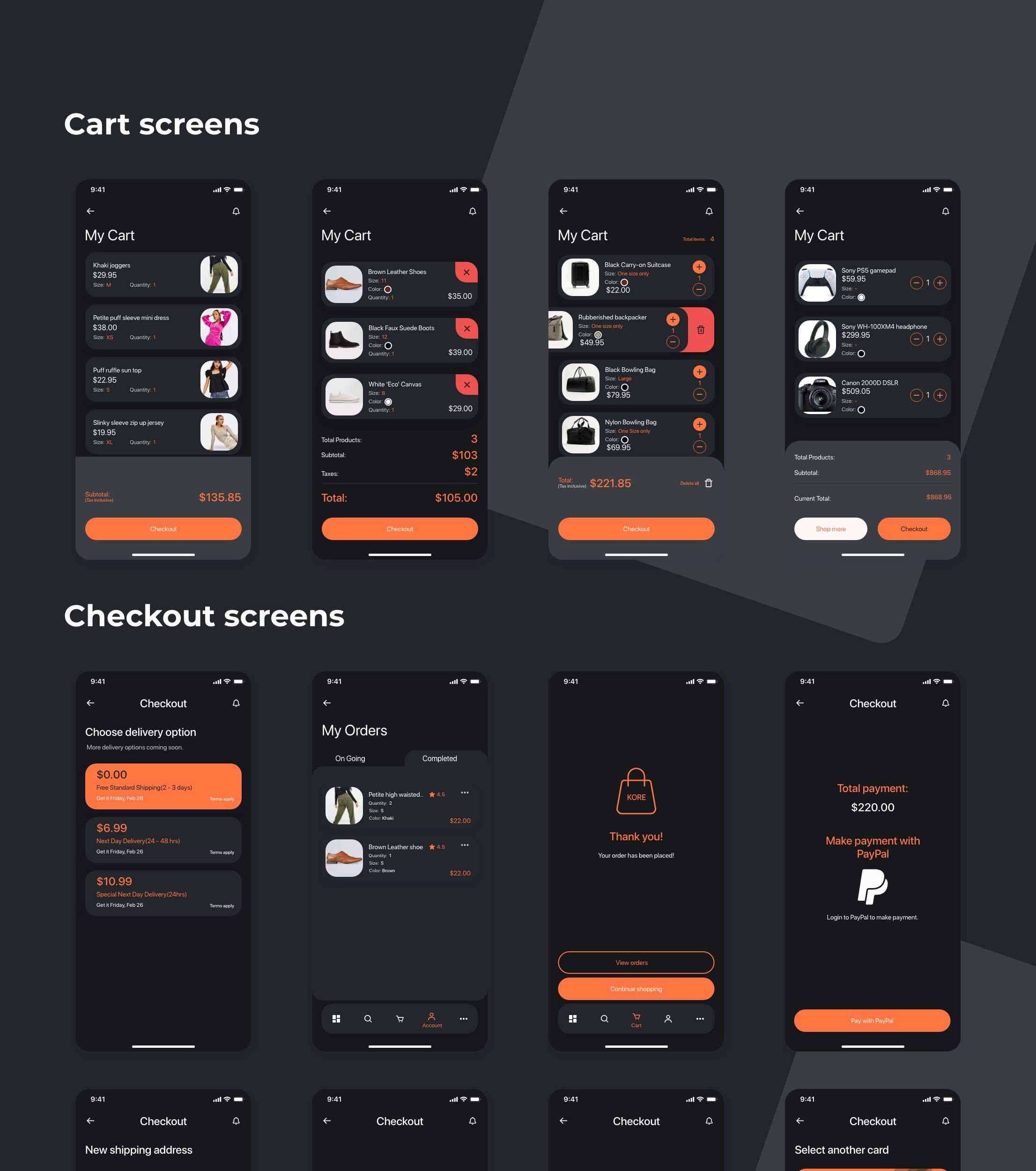 kore_app_ui_kit dark theme e